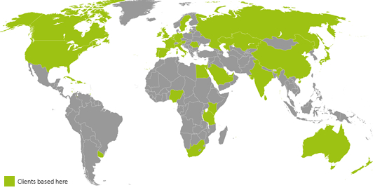 Clients on World Map